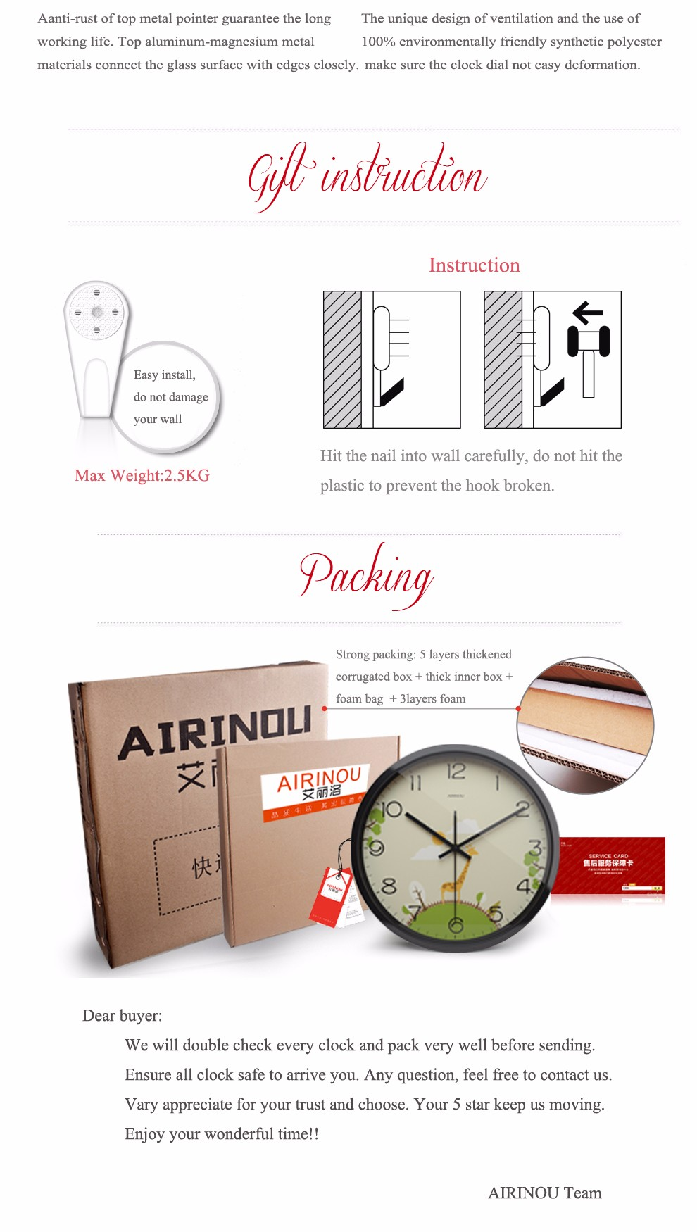Airinou 3 size Giraffe cartoon  Fashion cute clock kindergarten children room glass silent Metal
