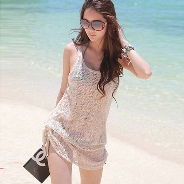 #Women Gauze See Through Sleeveless Smock Bikini Cover Up Beach Dress Tank Tops()