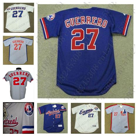 Retro 2002 Custom VLADIMIR GUERRERO Baseball jersey Throwback Blue Gray White blue stripe Mens Stitched jerseys(China (Mainland))