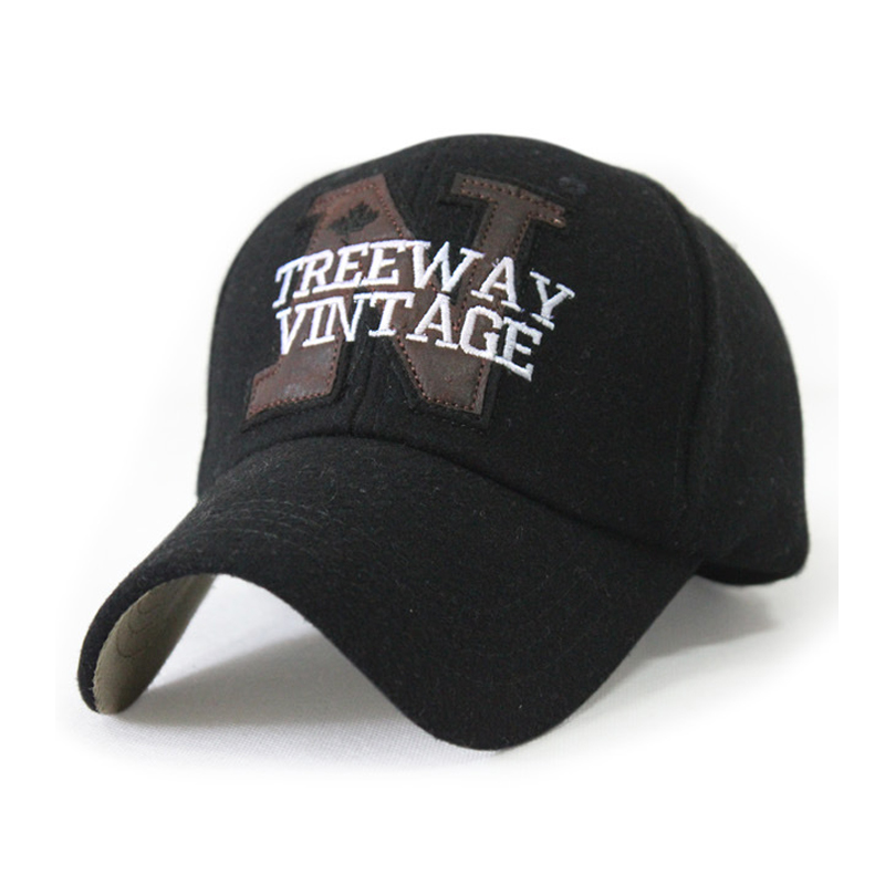 new brand baseball caps winter and autumn brim PU leather hat N treeway wintage warm baseball cap cold outdoor warth wool hat(China (Mainland))