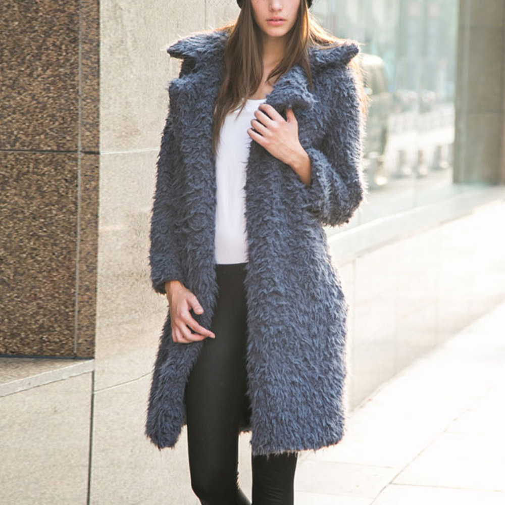 Fashion Women Hairy Shaggy Faux Lamb Wool Fur Cardigan Long Trench Coat Outerwear SUPER QUALITY - Sexy Woman Line store