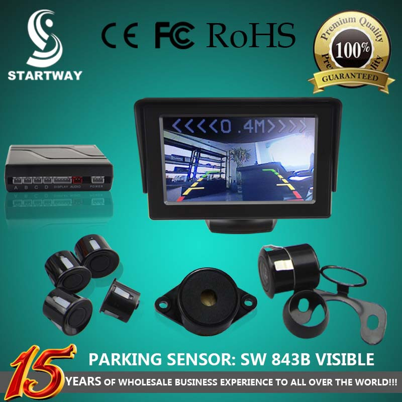Car Rear View Camera Double Usage With 4.3 inch Color LCD Car Back view Mirror Monitor with Visible Parking Sensor Free Shipping(China (Mainland))
