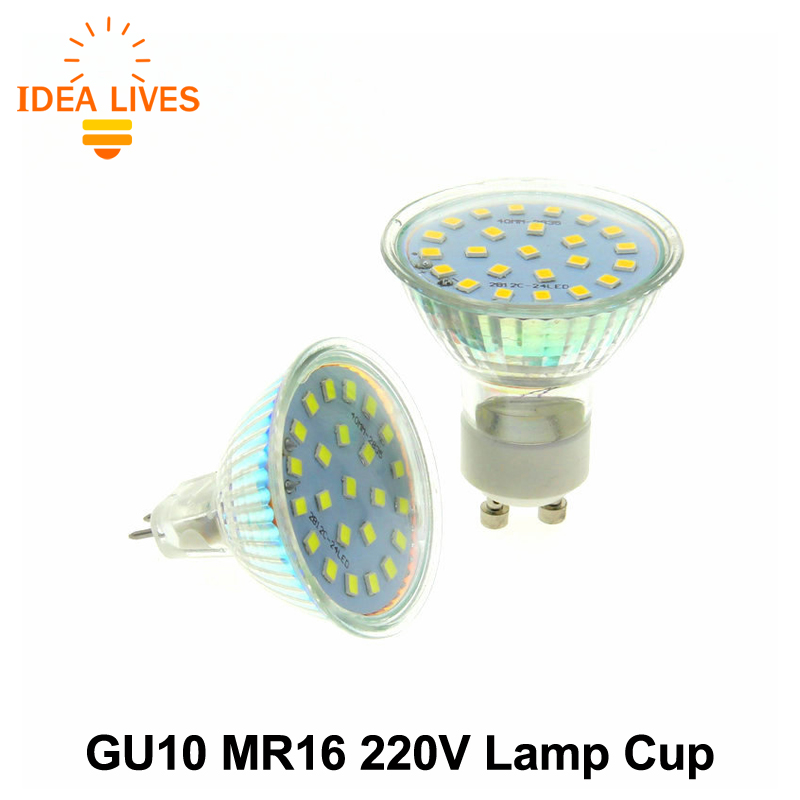 LED Spotlight GU10 MR16 220V High Brightness 2835 24LED Chips Lamp Cup with Transparent / Frosted Cover.(China (Mainland))