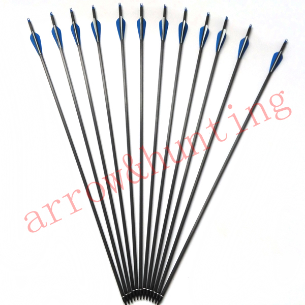 12pcs 30 archery compound bow arrow with carbon shaft and insert arrow head hunting bow bolt