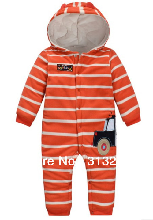 FR-1, police car, 5sets/lot (6-24M), Baby romper, stripe poly fleece thick long sleeve hooded romper, snap button.<br><br>Aliexpress