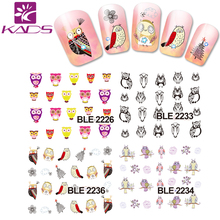 BLE 2226-2236 Water decal Nail Stickers cartoon owl design Stylish Nail Tip Wraps Nail Decoration Tools for nail decals(China (Mainland))