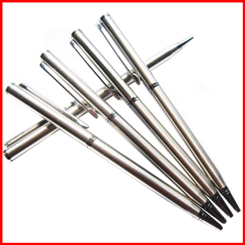 1pcs/lot Rotating metal ballpoint pen stainless steel ball pen steel bar oil pen commercial stationery pen free shipping(China (Mainland))