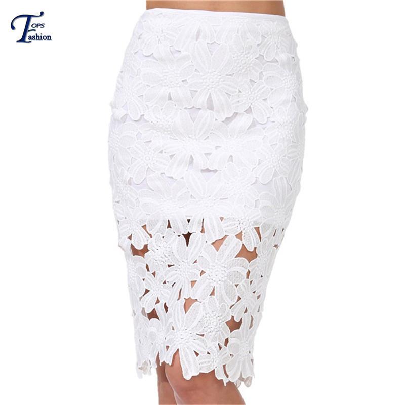 Saias Femininas 2016 New Designer Brand Summer Women Fashion Casual White Crochet High Waist Slim Pencil Peplum Skirt - TOPS FASHIONS store