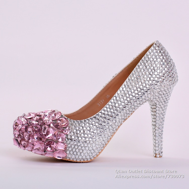2015 hot sell pink crystal rhinestone wedding shoes bling bridal shoes