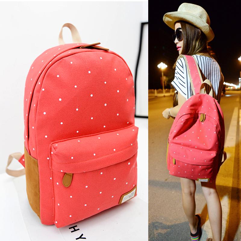 2014 New Canvas shoulder bag Korean female college wind leisure travel backpack Japanese Polka Dot schoolbag#HW03056(China (Mainland))