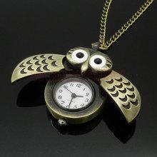 Bronze Night Owl Necklace Pendant Quartz Steampunk Pocket Watch Chain for Men Women P27(China (Mainland))