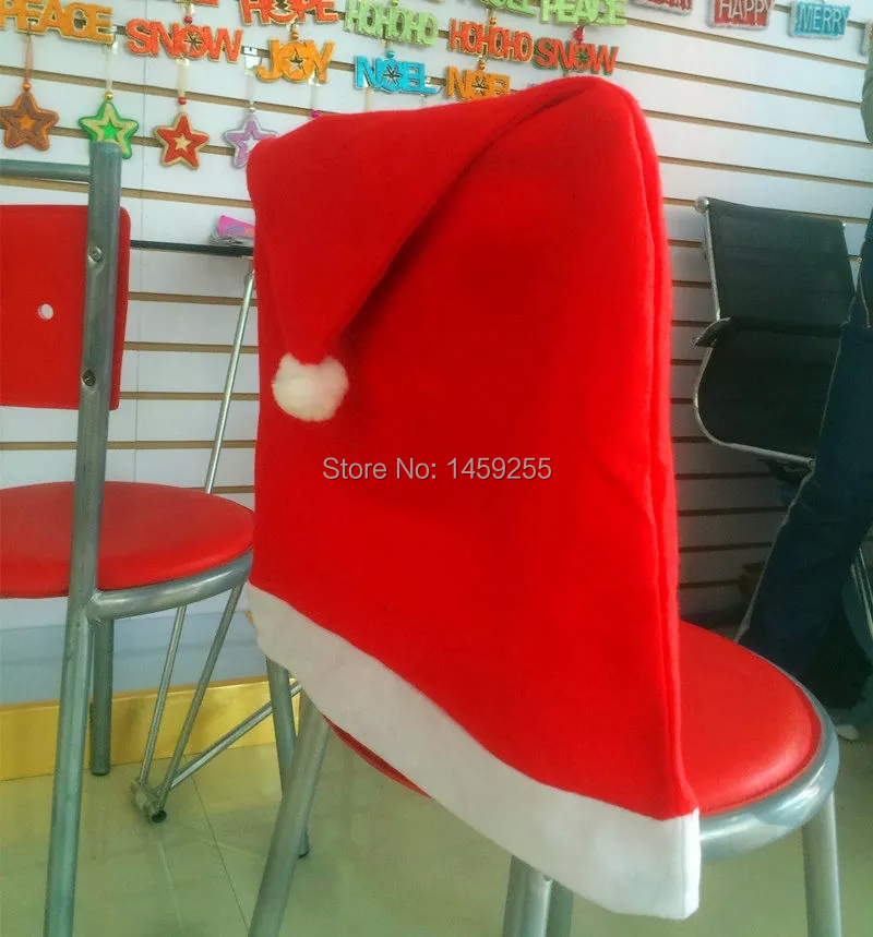 2pcs / lot hot sale Santa Claus Red Hat Chair Back Covers for Christmas Dinner Decor Party decoration(China (Mainland))