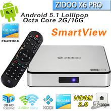 Zidoo X6 PRO Smart Android  5.1 TV Box  RK3368 Octa Core WiFi Bluetooth 4.0 2G16G HDMI2.0 4K KODI XBMC H.265 DLNA Miracast