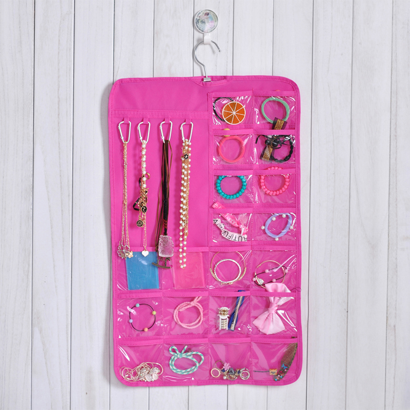 7 Layer Non Woven Jewellery Hanging Storage Bag Hair Dressing Products Necklace Earrings Organizing Bag With Hook 33*50cm Pink(China (Mainland))