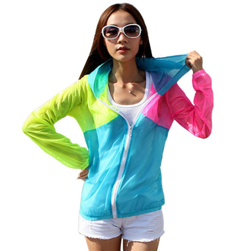 New Fashion Summer Style Women Hoodies Hooded Coat Long Sleeve Sun Protect Transparent Beach Clothing Beach Shirt Free Shipping