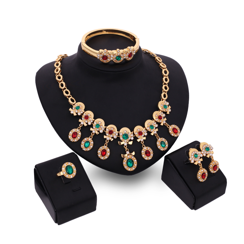 Gorgeous Red Green Austrian Crystal Necklace Set Dubai 18K Gold Plated Jewelry Sets Wedding Party Costume Fashion Design(China (Mainland))