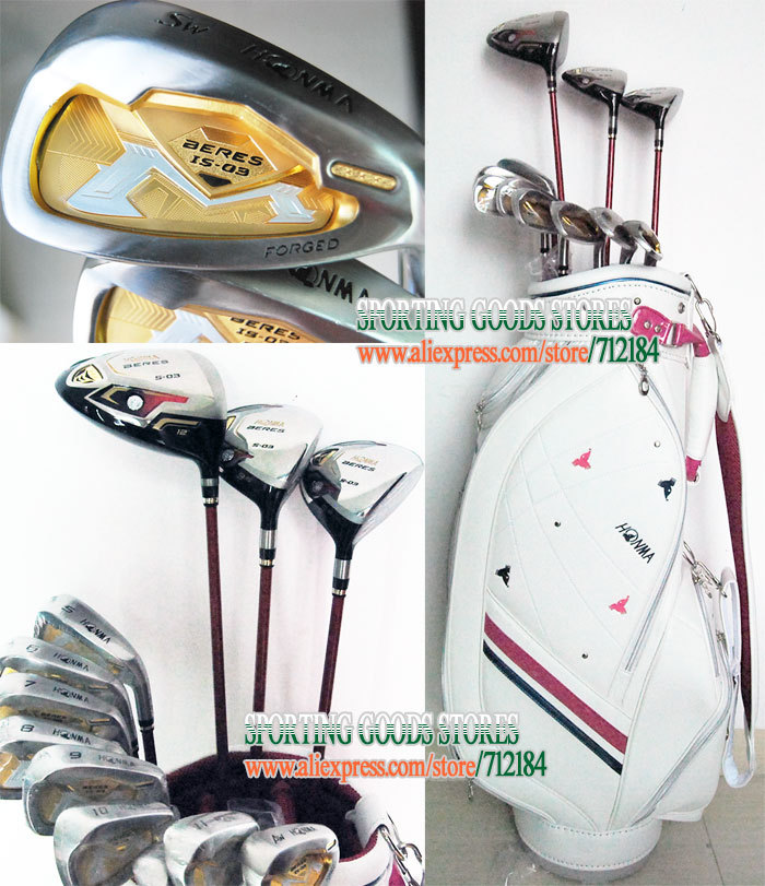 New Honma BERES S-03 Golf clubs 3Wood+irons+putter+bag complete clubs set Graphite shaft Golf wood headcover Free shipping(China (Mainland))