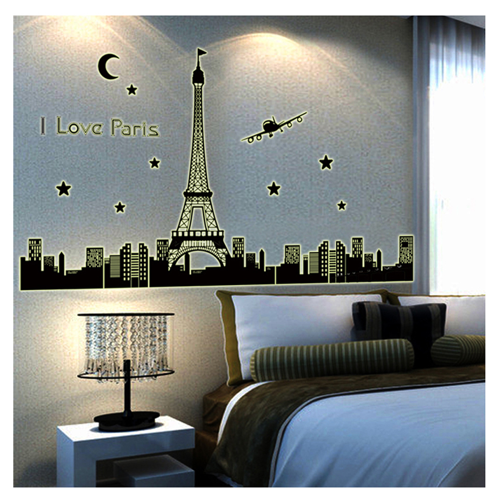 Paris Bedroom Wall Decor Sticker Decals Vinyl Stickers Home Decor Glow In The Dark Home Decoration Wall Art Accessories(China (Mainland))