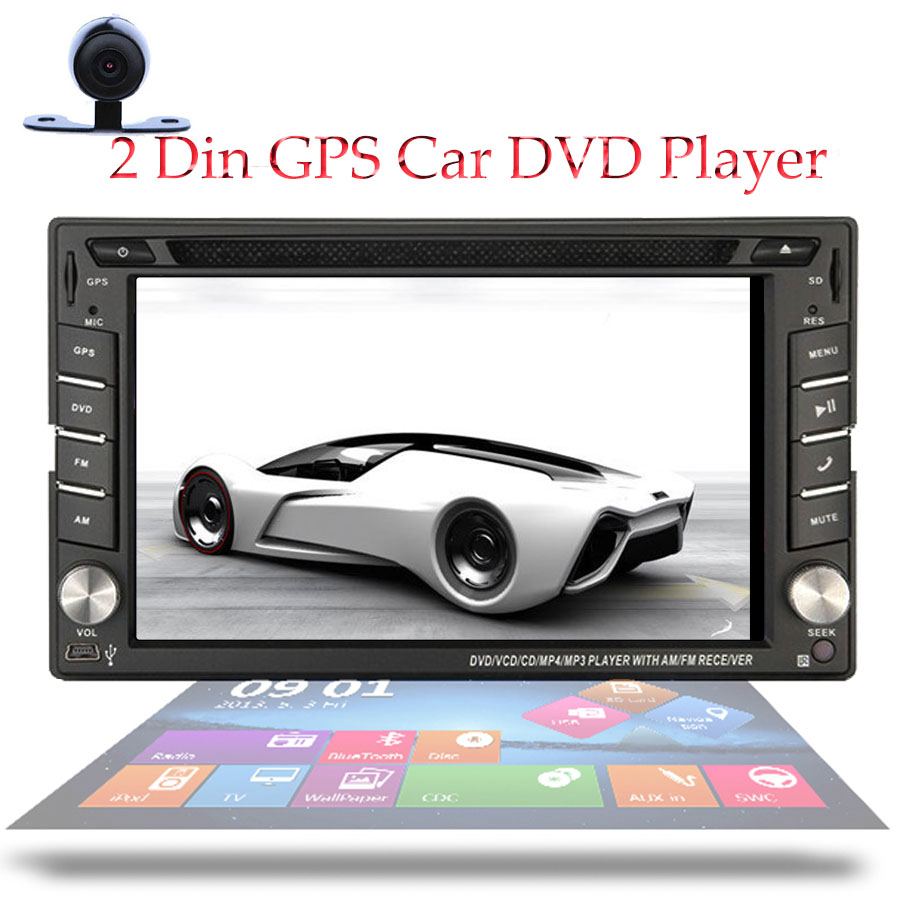 Double 2 Din 6.2 Inch Car DVD Player With GPS Navigation Free MAP & Camrea Car DVD Player Bluetooth Car Headunit Auto Radio(China (Mainland))