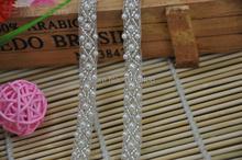 5 yardas / lot perlas blanco Rhinestone con cuentas recorta coser la cinta del Organza para DIY tela correa del vestido de boda, envío gratuito