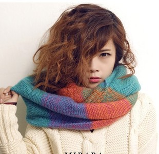Fashion Scarf Women Multicolor Mosaic Winter Warm Long Scarf Knitted Wool Neck Scarves Wraps Thicken Shawls Free Shipping WJ3040(China (Mainland))
