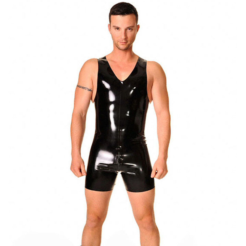 2016 New Fashion Sexy Sleeveness Latex Catsuit For Men Fetish Rubber Costumes Pants Back Zipper Under Crotch Plus Size Hot Sale