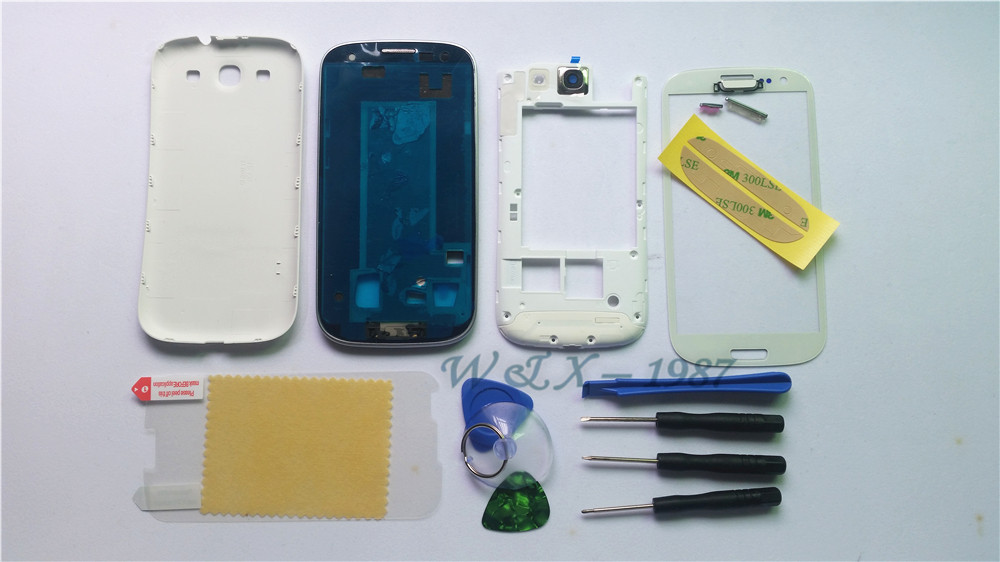 White Mobile Phone Replacement Full Housing Cover Case + Screen Glass Lens+ Tools Film+Buttons For Samsung Galaxy S3 I9300