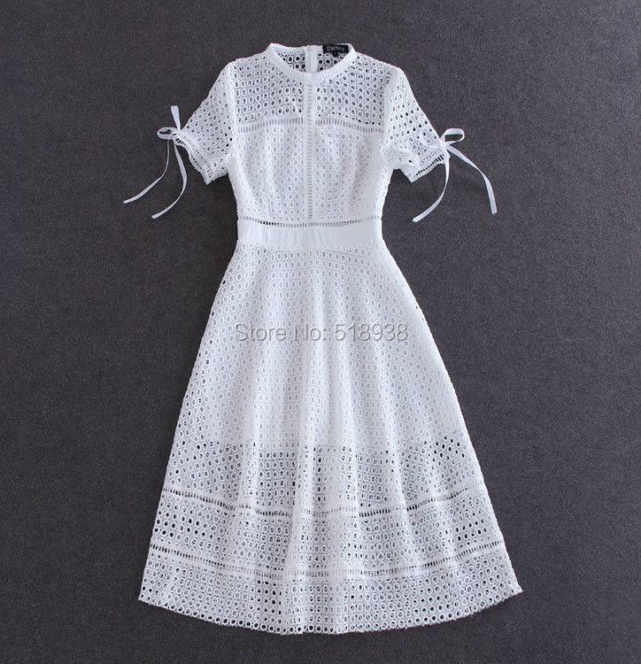 New 2015 summer style brand fashion bohemian women white hollow out lace dress midi mid calf elegant short sleeve bow dressesОдежда и ак�е��уары<br><br><br>Aliexpress