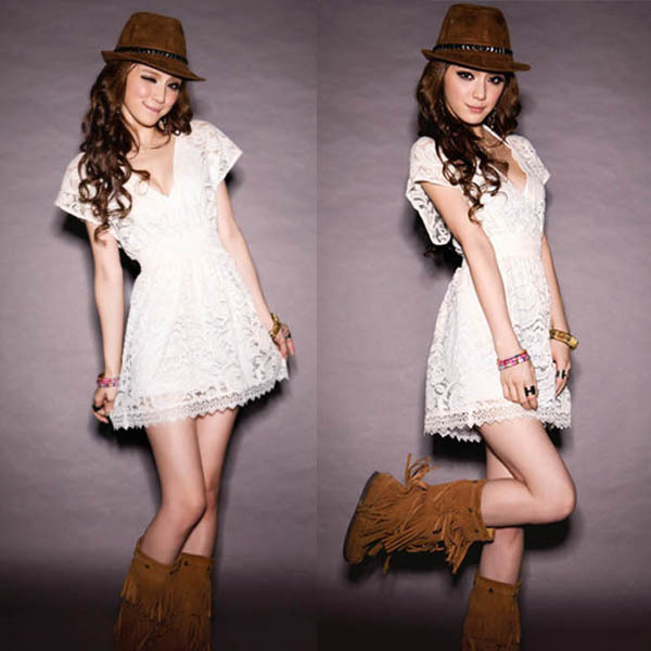 Ladies Lace Mini Dress Beach Cover Up Long Tops See-Trough V Neck Summer Tunic Dropshipping Freeshipping(China (Mainland))