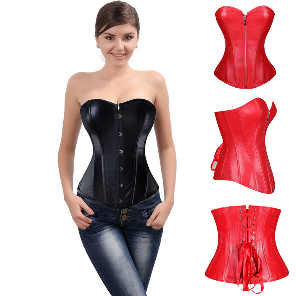 Womens Faux Leather Zipper And Buckle Front Bustier Corset Top Free Shipping(China (Mainland))