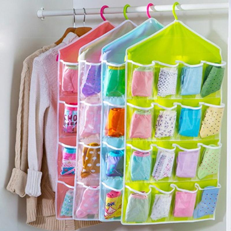 16 Grid Underwear Bras Socks Ties Shoes Storage Organizer Box Hanging Bags NIVE(China (Mainland))