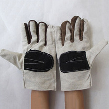 Canvas Work gloves thickening working gloves leather canvas gloves wear resistant gloves G0407(China (Mainland))