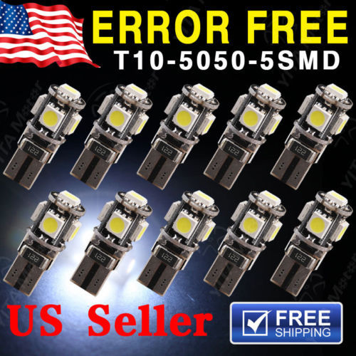 Hot Sell Price led Lights Car Lights10pcs/lot Canbus Error Free White T10 5-SMD 5050 Interior LED Light Lamp bulbs W5W 194 168(China (Mainland))