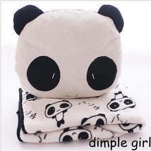 1pcs cute animal shape plush panda head cushion coral fleece anime body boyfriend girlfriend pillow blanket for car accessories<br><br>Aliexpress