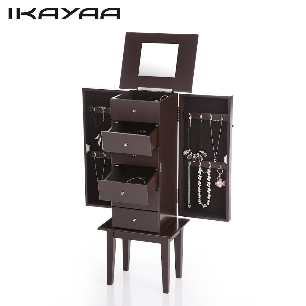 IKAYAA Antique Standing Jewelry Armoire Cabinet Flip-top Mirrored Jewelry Storage Box Organizer Chest Bedroom Furniture WO-W6118(China (Mainland))