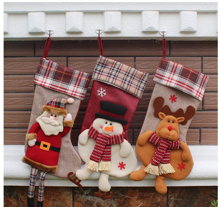 1pcs natale decorazioni christmas stocking gift bag for Decoraciones de hogar