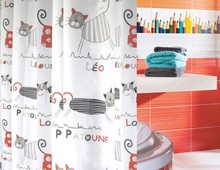 Multiple Size Cute Cartoon Cat Design Bathroom Shower Curtains with Hooks(China (Mainland))