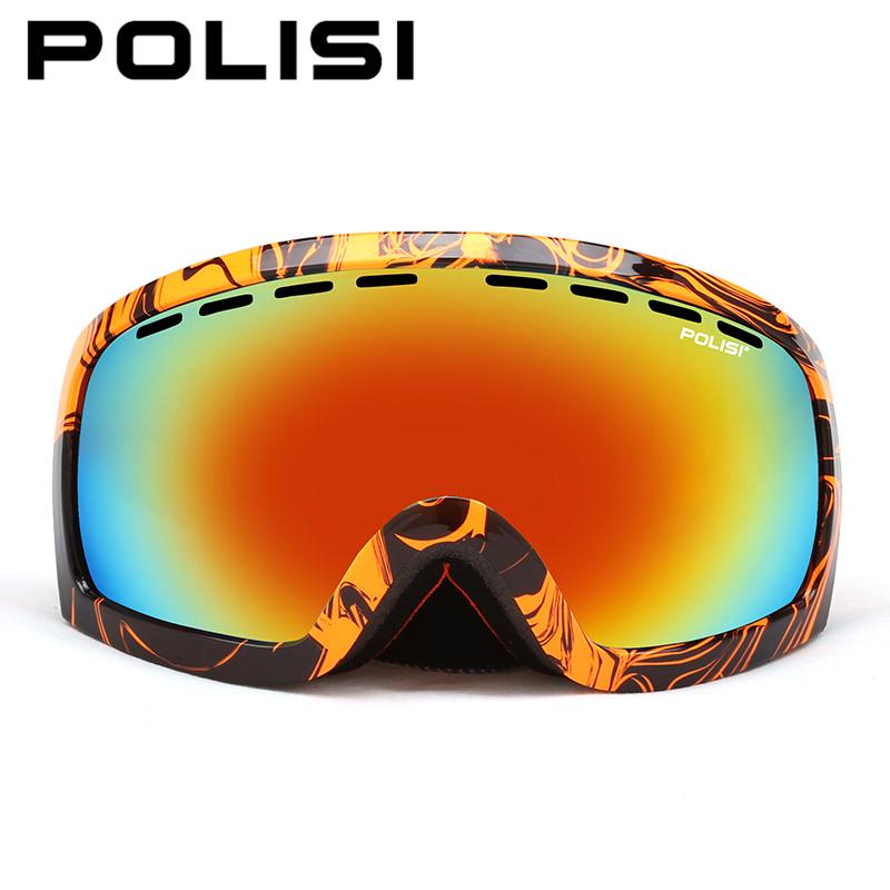 POLISI Windproof Snowboard Skate Goggles Double Layer Anti-Fog Lens Skiing Glasses Polarized Outdoor Snowmobile Snow Eyewear