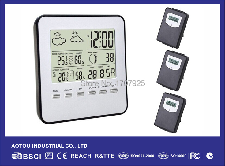 3 Transmitters+RF Wireless Indoor/Outdoor Temperature Humidity Digital Weather Station #AT-07(China (Mainland))