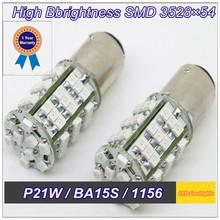 Quality Assurance 2 PCS P21W BA15S LED 1141 1156 S25 54 SMD 3528  DC 12V Turn/Reverse Led Lamp Car Led Light(China (Mainland))