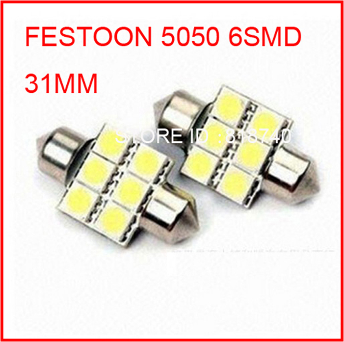 High quality 31mm 6SMD 5050 LED Auto Car Festoon 6LED 6smd Licence Plate Light can use as Interior Dome Roof Reading Car Light(China (Mainland))