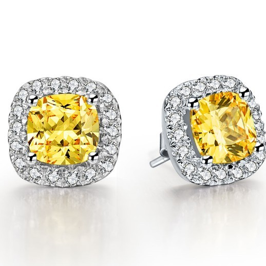 Genuine AU585 Wedding Accessory 1Ct/Piece Cushion Cut Yellow Synthetic Diamond Stud Earrings Solid 14K White Gold Bridal Jewelry(China (Mainland))