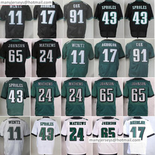 Discount 11 Carson Wentz 43 Darren Sproles 17 Nelson Agholor 24 Ryan Mathews 65 Lane Johnson 91 Cox Home Green Black(China (Mainland))