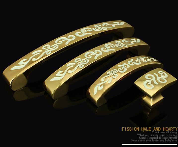 Engraved Designs Cabinet Wardrobe Cupboard Knob Drawer Door Pulls Handles Gold 96mm(China (Mainland))