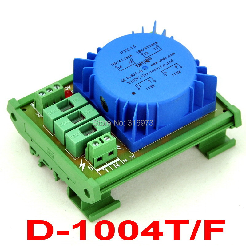 P 115VAC, S 2x 18VAC, 15VA DIN Rail Mount Toroidal Power Transformer Module.<br><br>Aliexpress