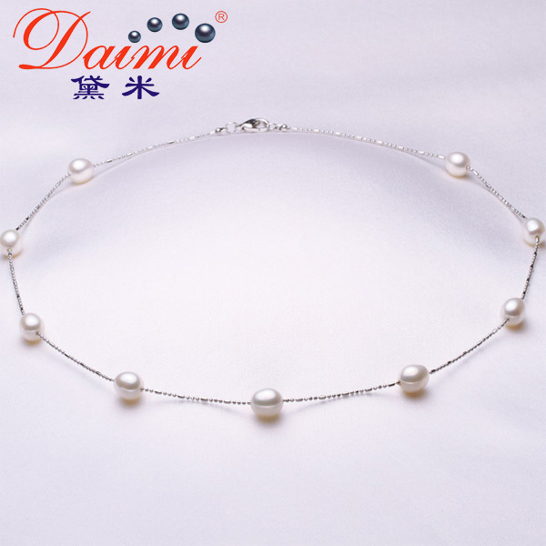 925 Silver Chain Necklace Natural Freshwater Pearl Rice Shape Tin Cup Necklace Fashion Gift Wholesale Price(China (Mainland))