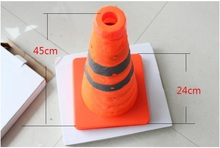 45cm Height Folding Reflective Safety Cones Warning Reflective Plastic Road Cone(China (Mainland))