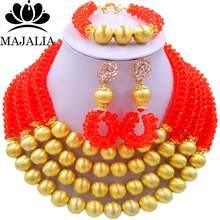 Majalia אופנה סט תכשיטים אפריקאים חתונה ניגרית סגול קריסטל שרשרת כלה משלוח חינם 3LI009(China)
