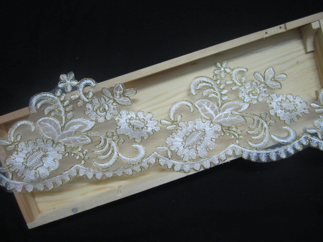 15yard 11cm Golden Rim Lace Trim Bridal Veil Trim Embroidery Applique Lace Wedding Dress Accessories Sewing Supplies 2014 AC0253