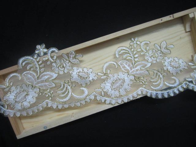 15yard 11cm golden rim lace trim bridal veil trim for Wedding dress sewing supplies